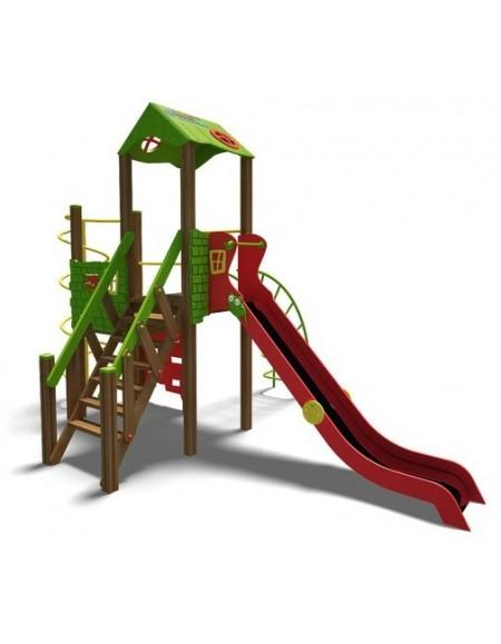 Игровой комплекс для детей  зелено-красный Башня-NEW  T901NEW