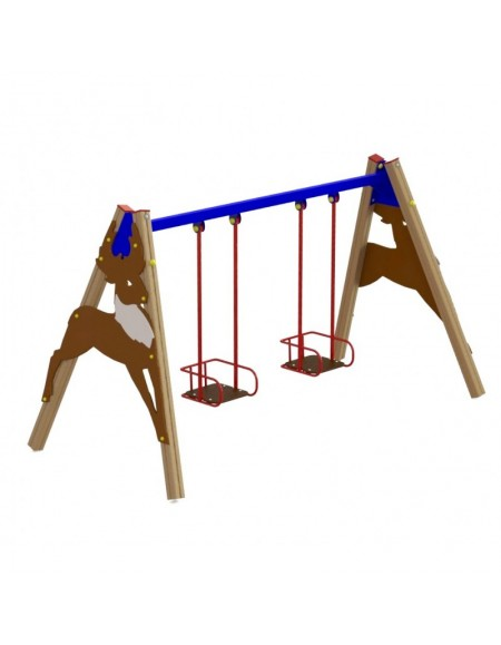 Детская качель двойная на деревянных стойках (DIO-316)