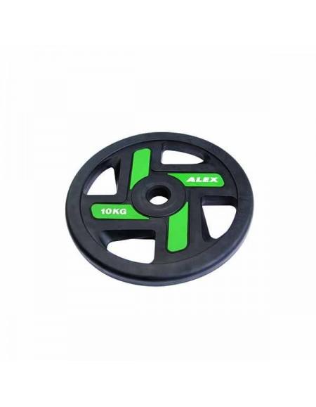 Диски для штанги, гантелей Alex 4 Holes 10 кг TPU Olympic Plate