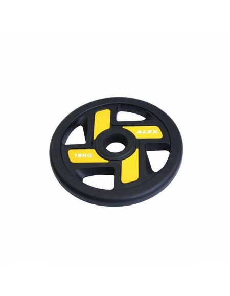 Диски для штанги, гантелей Alex 4 Holes 15 кг TPU Olympic Plate