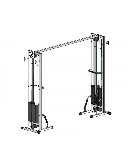 Многофункциональный тренажер для спины Блочная рамка двойная на 100 кг, крепление к стене/полу (TB002-100)
